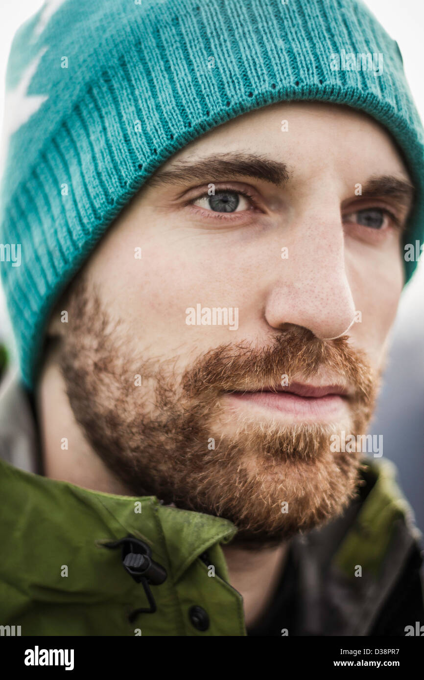 Close up of mans serious face - Stock Image