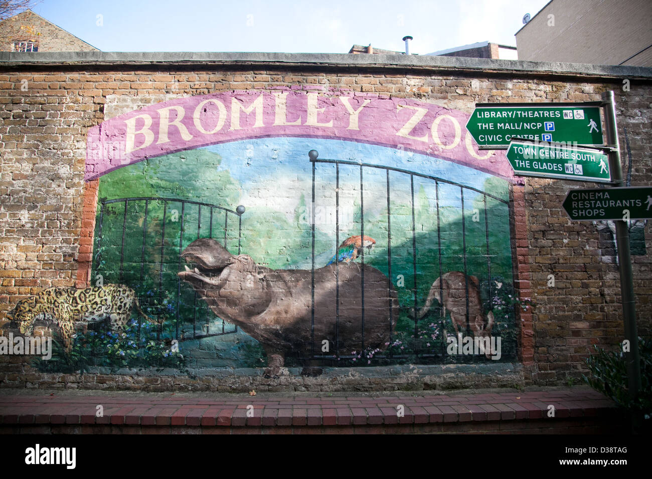 Bromley Zoo wall mural in Kent UK - Stock Image