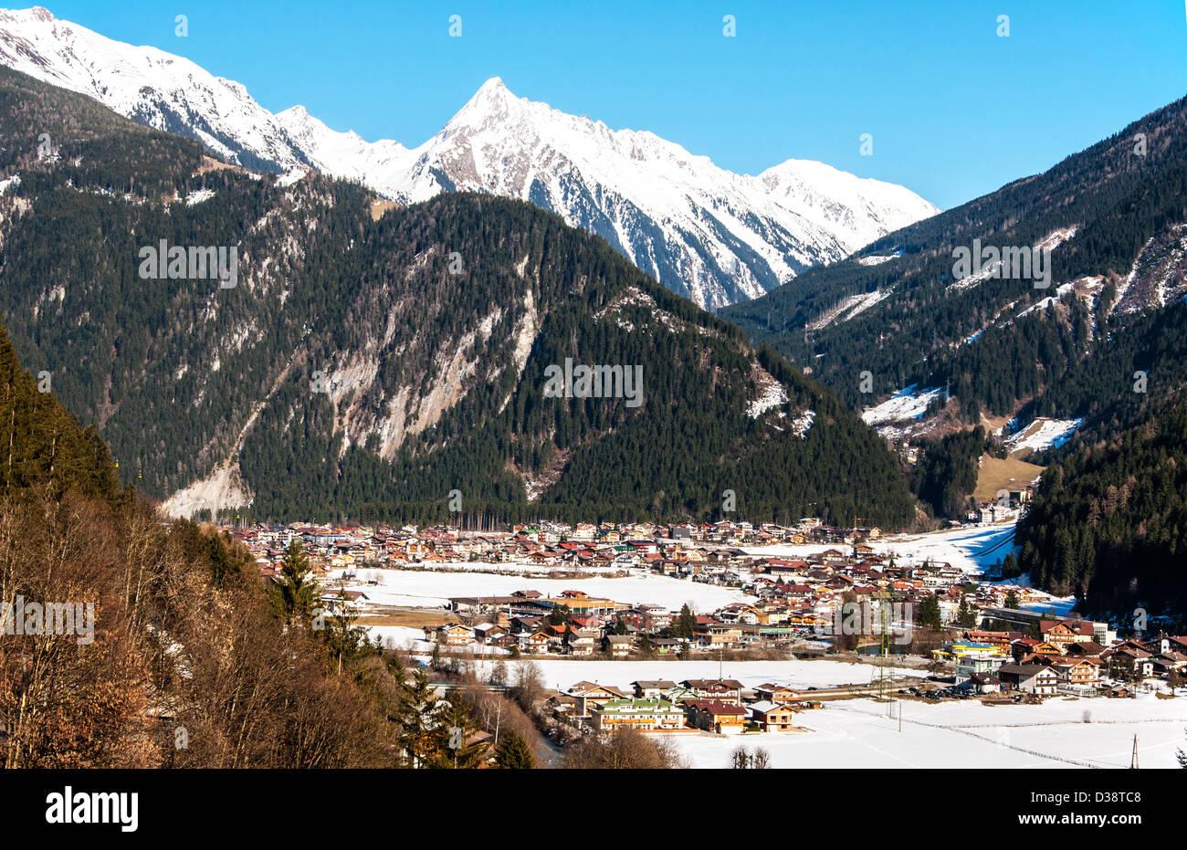 Mayrhofen ski resort in Zillertal Alps in Austria - Stock Image