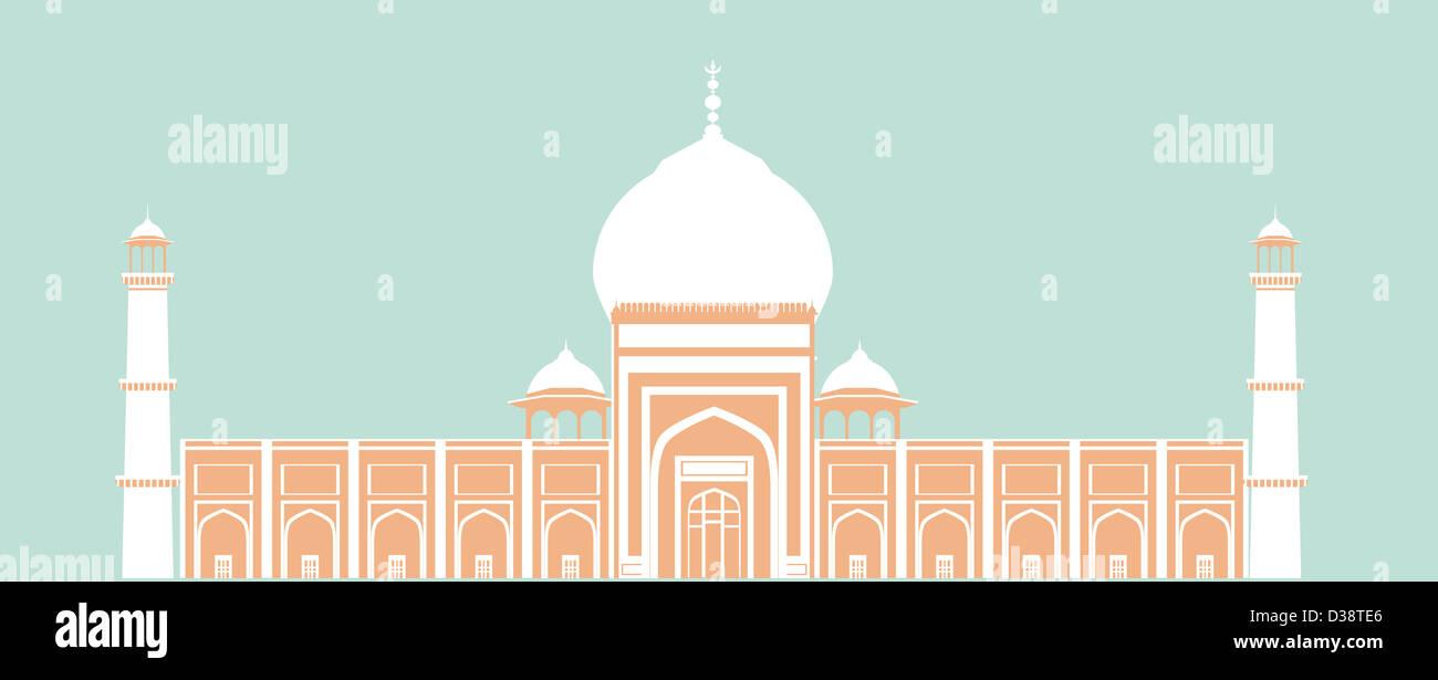 Facade of a mosque, Jama Masjid, Delhi, India - Stock Image