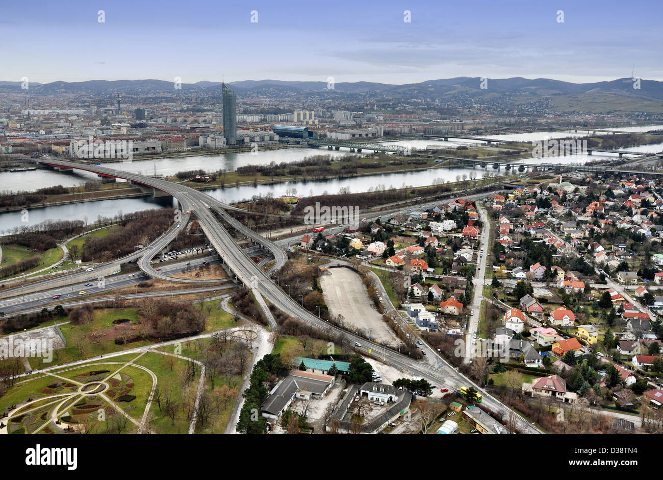 Vienna cityscape with Danube, New Danube, crossroad and four bridges - Stock Image