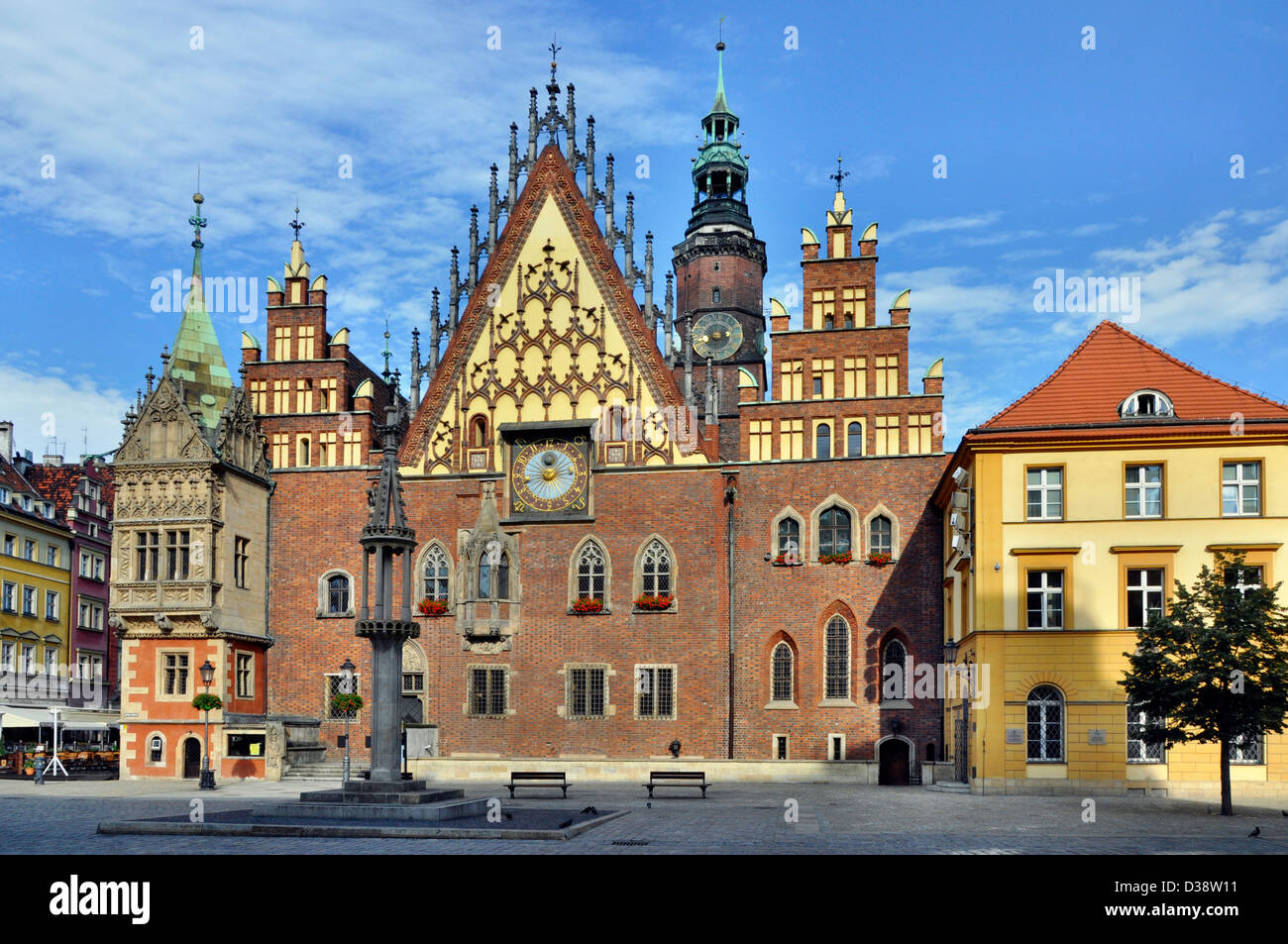 Old Gothic town hall in Wroclaw (Breslau) in Poland - Stock Image