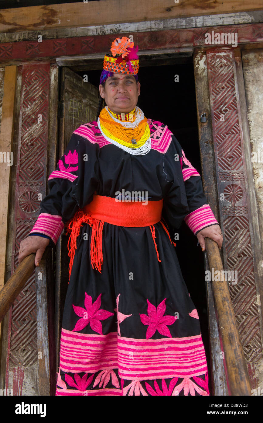 Formidable looking Kalash woman in traditional dress on the