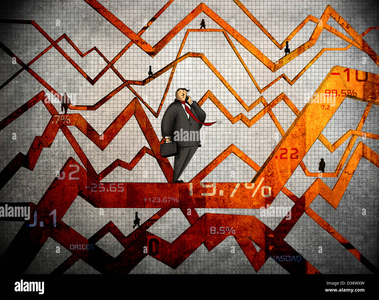 Fluctuation in stock market - Stock Image
