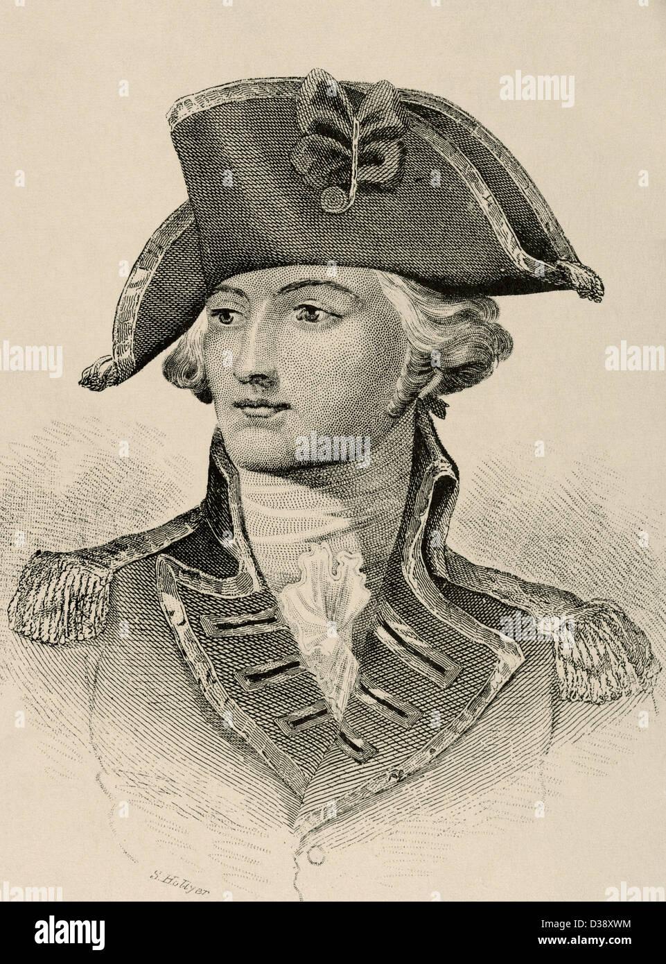John Burgoyne (1722-1792). British General and playwright. Engraving in The American Revolution. - Stock Image