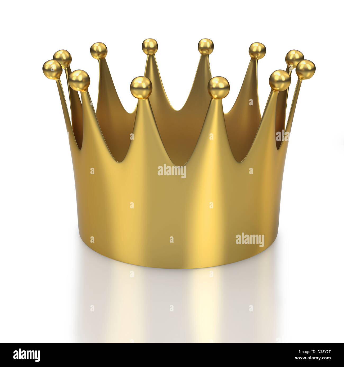 Large golden crown or coronet on white background - Stock Image
