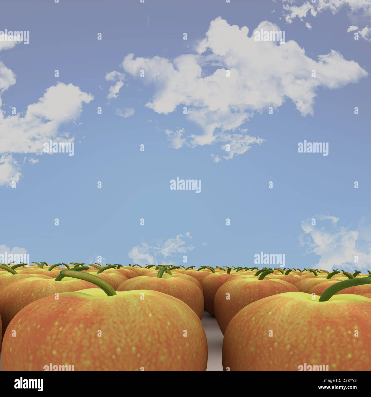 Apples arrangement under the sky - Stock Image