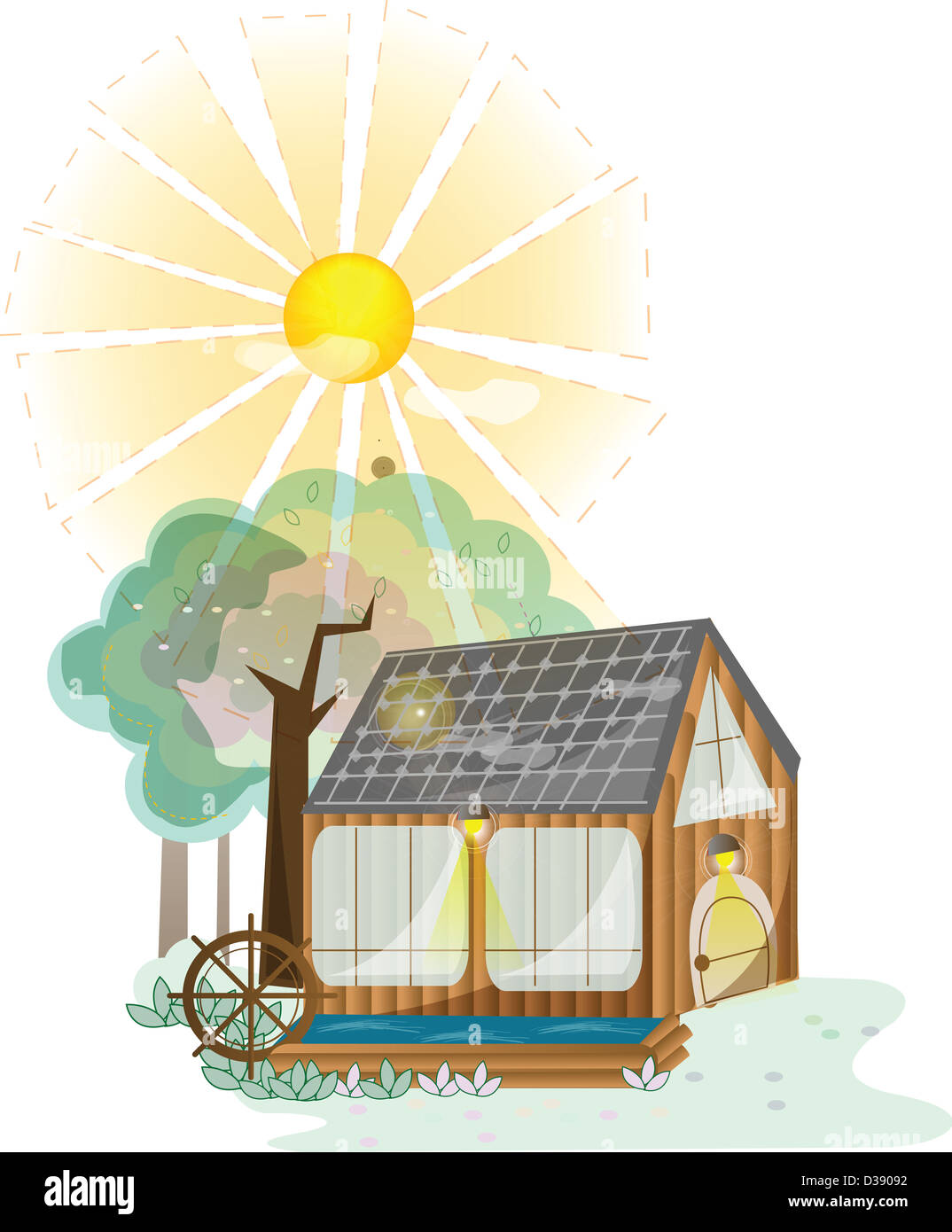 House with solar panels - Stock Image