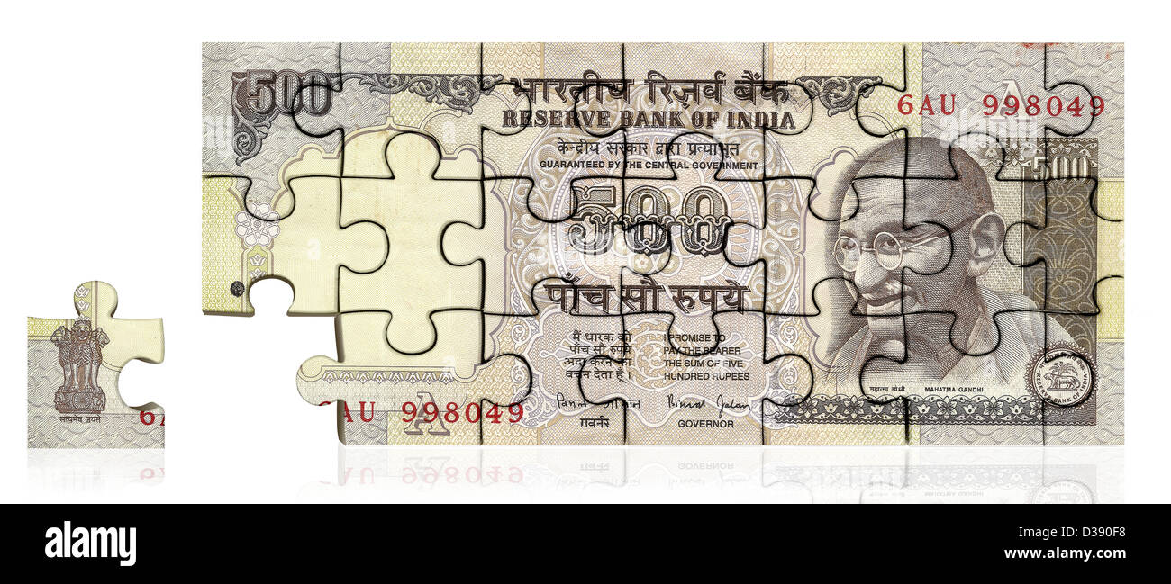 Five hundred Indian rupee note made of jigsaw piece - Stock Image
