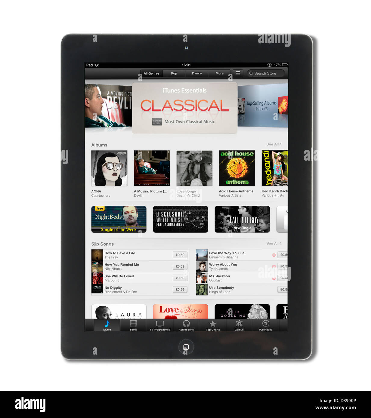 iTunes on the App Store viewed on a 4th generation Apple iPad tablet computer - Stock Image