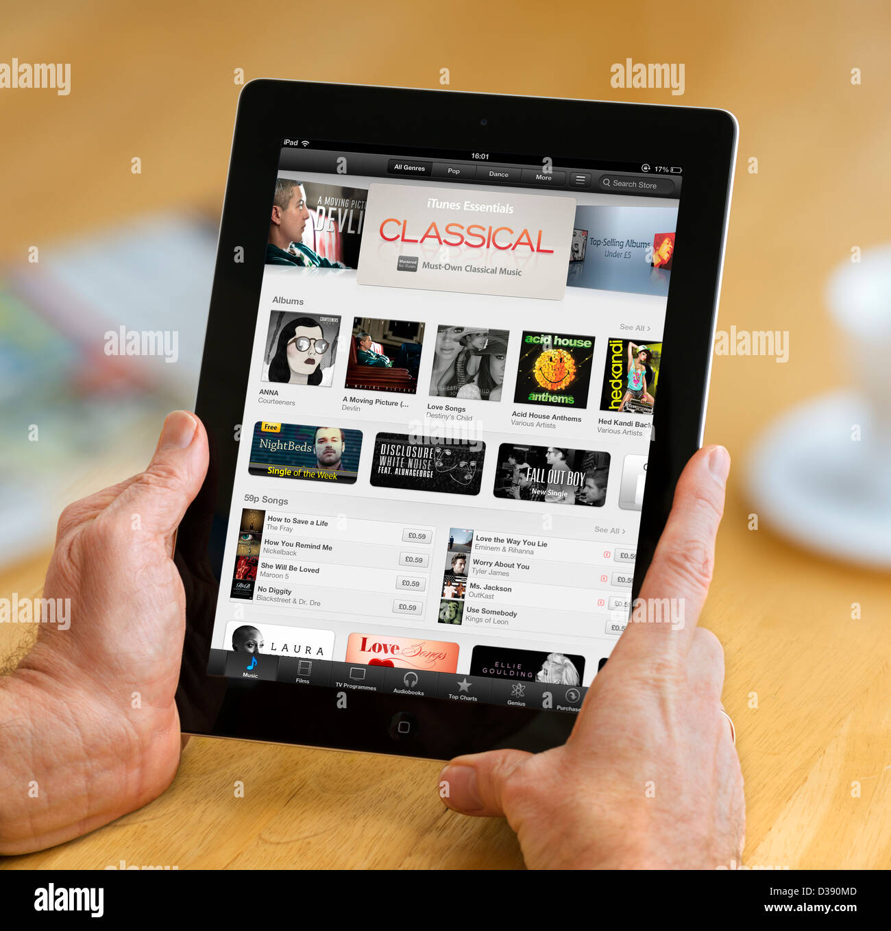 iTunes on the App Store viewed on a 4th generation Apple iPad tablet computer Stock Photo