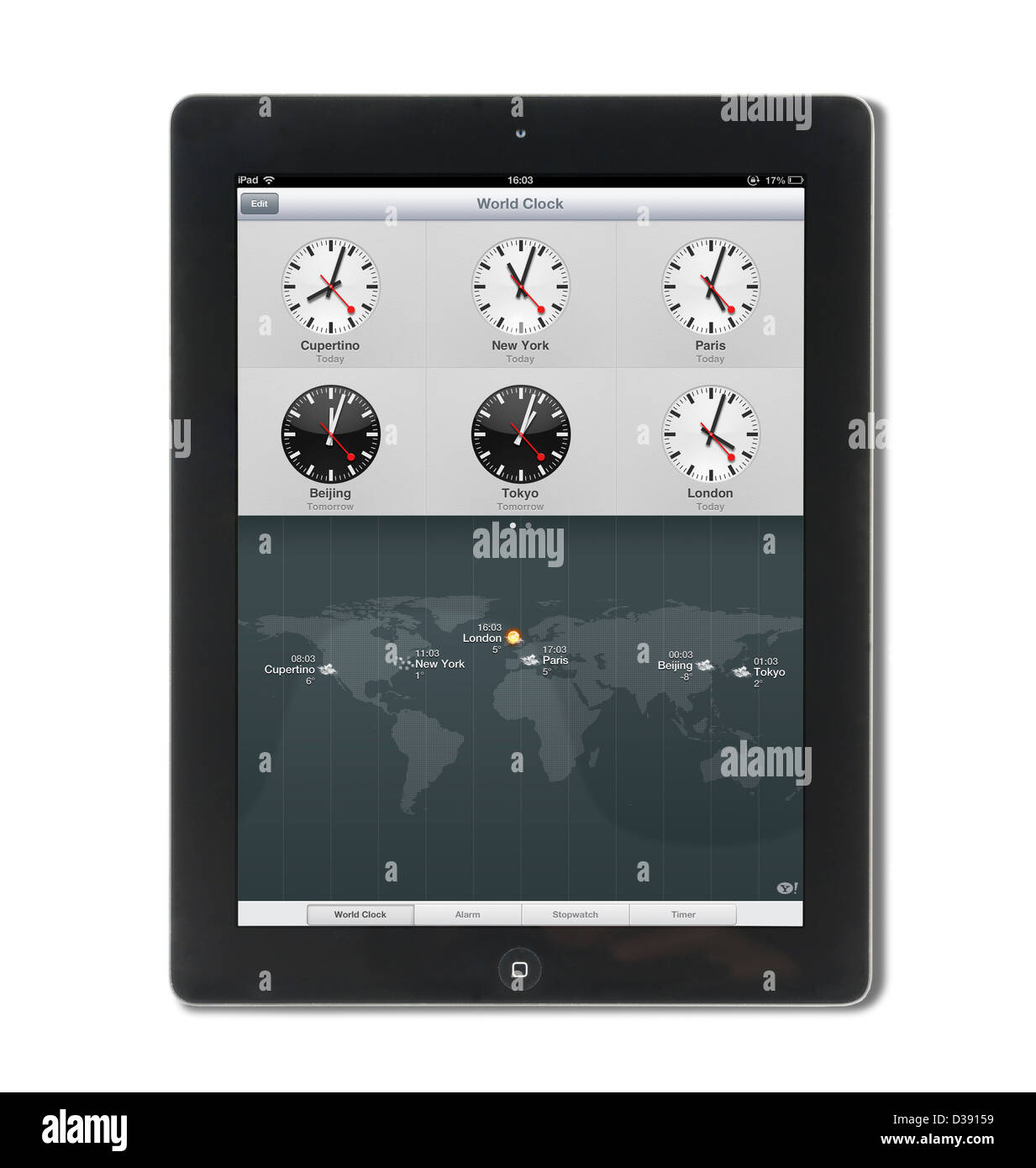 The World Clock on a 4th generation Apple iPad tablet computer - Stock Image