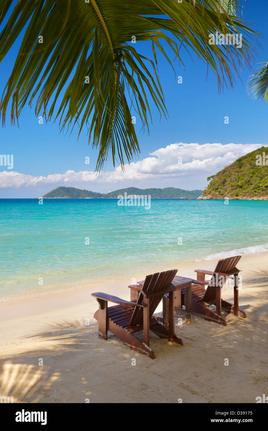 Thailand - two chairs on the beach near the sea, Ko Samet Island, Thailand, Asia - Stock Image