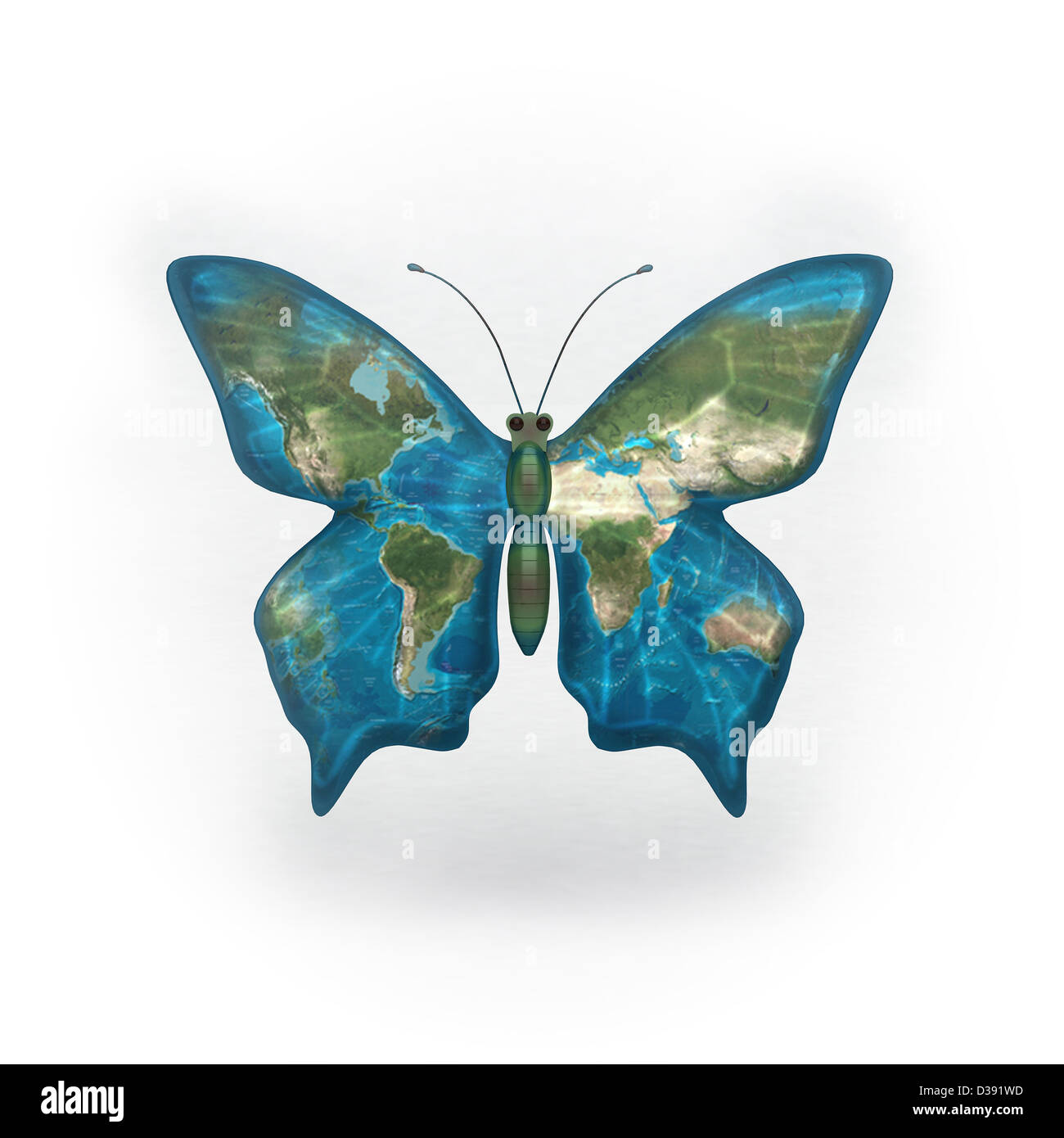 Butterfly With World Map On Its Wings Stock Photo 53674137 Alamy