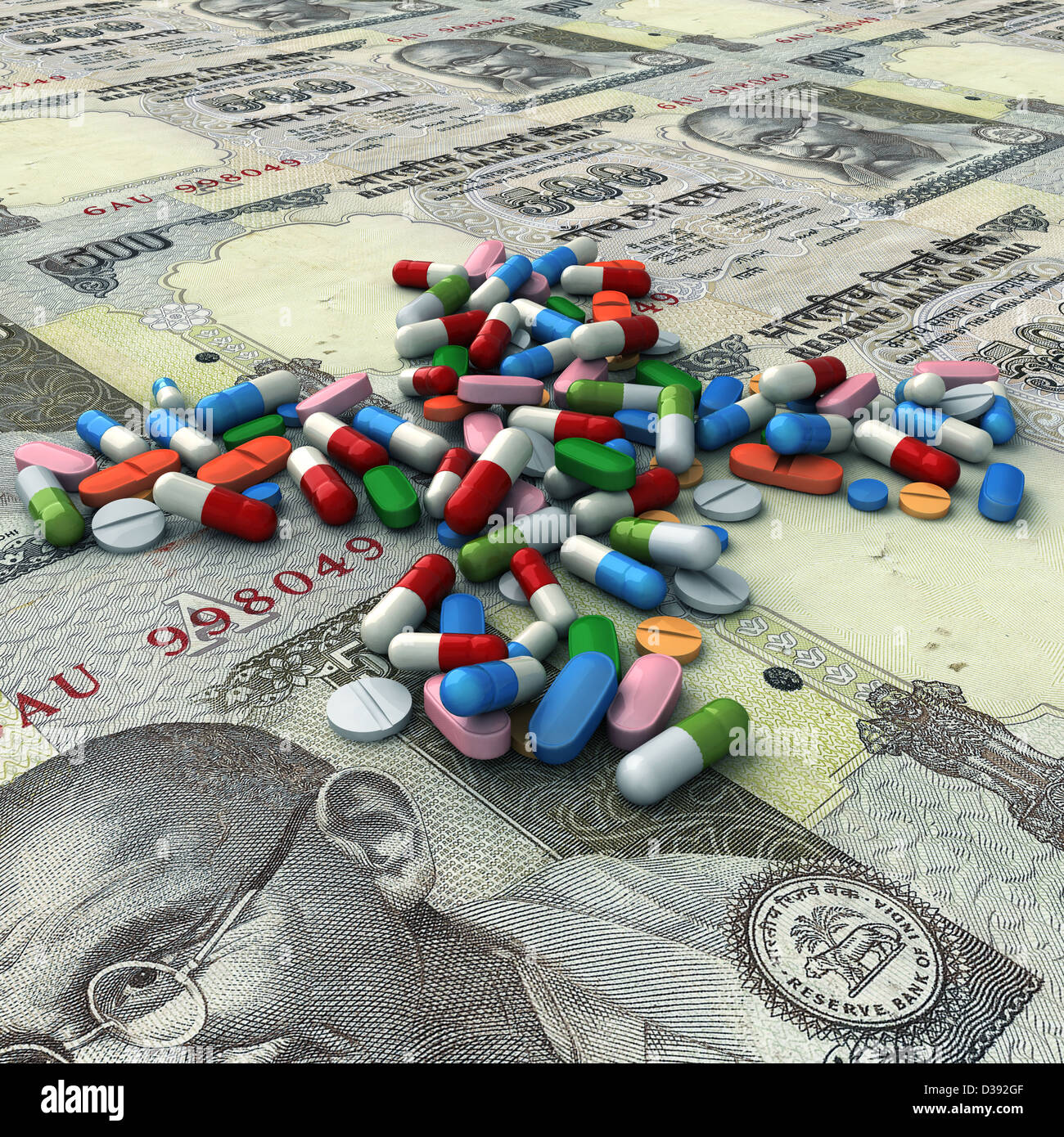 Illustrative image of pills above Indian currencies representing health cost Stock Photo