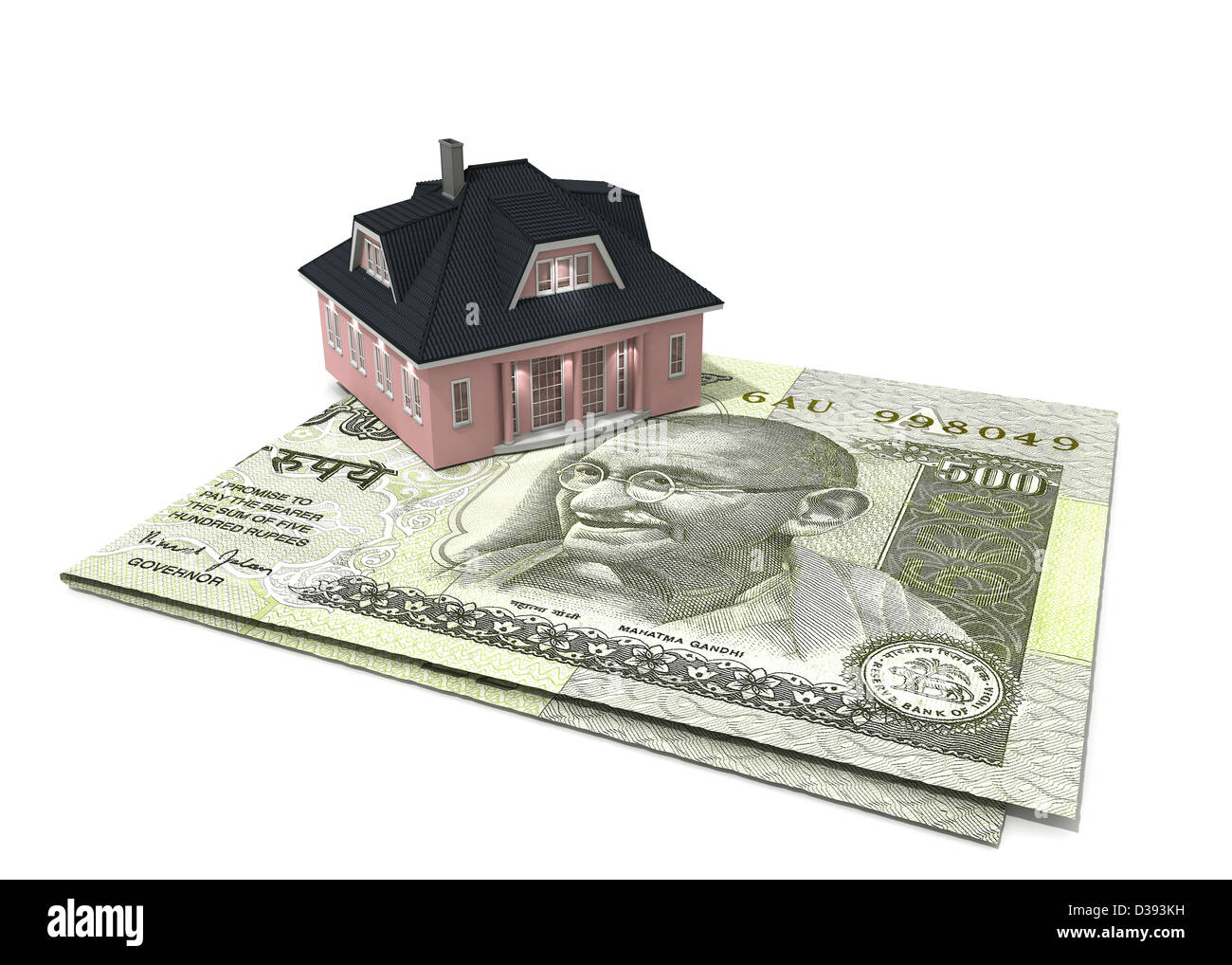 Model home on Indian five hundred rupee note - Stock Image