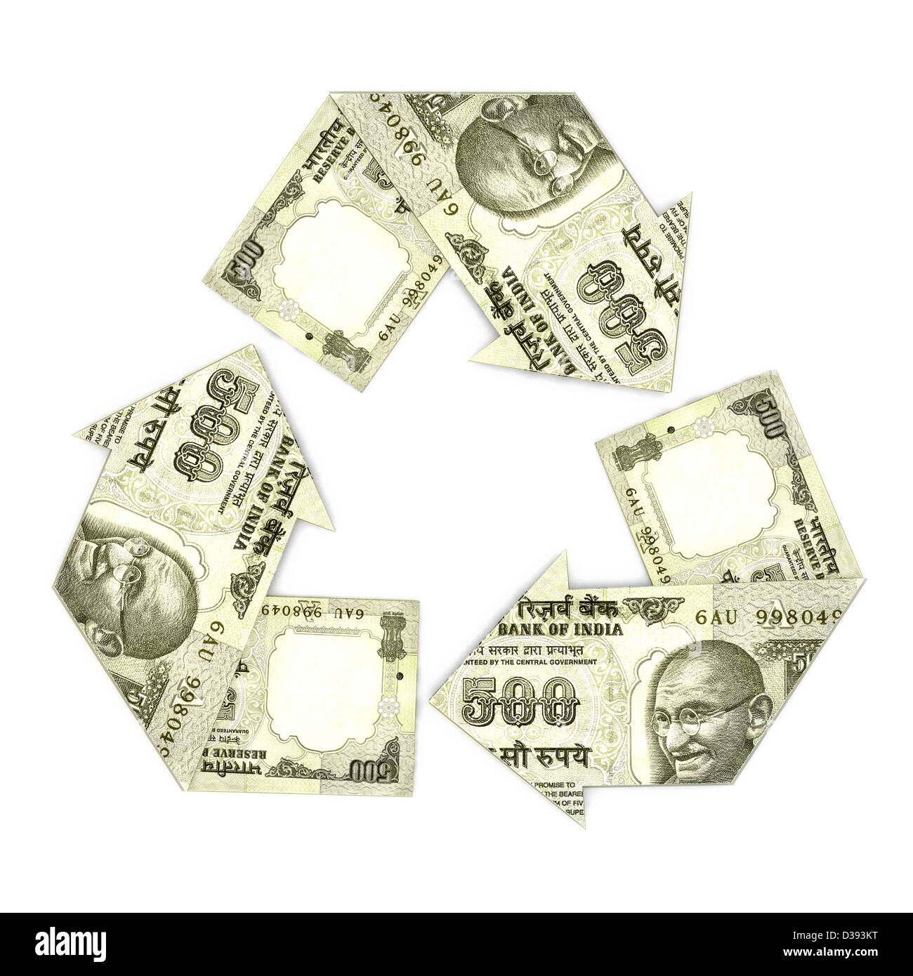 Indian five hundred rupee notes in form of recycling symbol - Stock Image