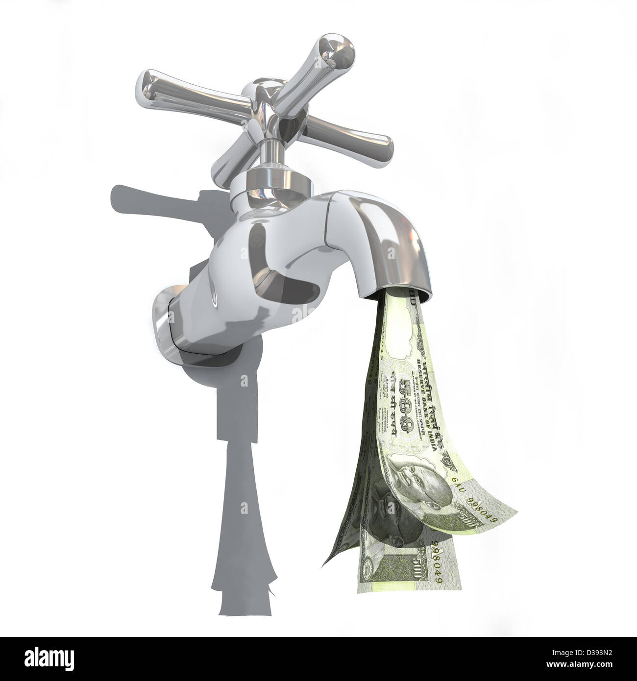 Indian five hundred rupee notes flowing from a faucet - Stock Image