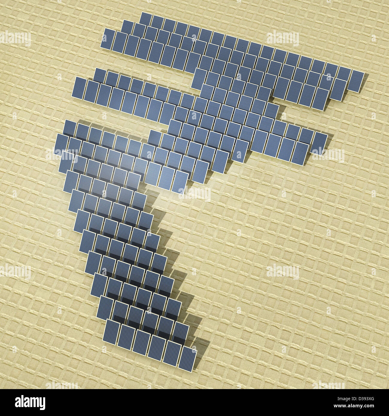 Solar panels in form of a rupee symbol - Stock Image