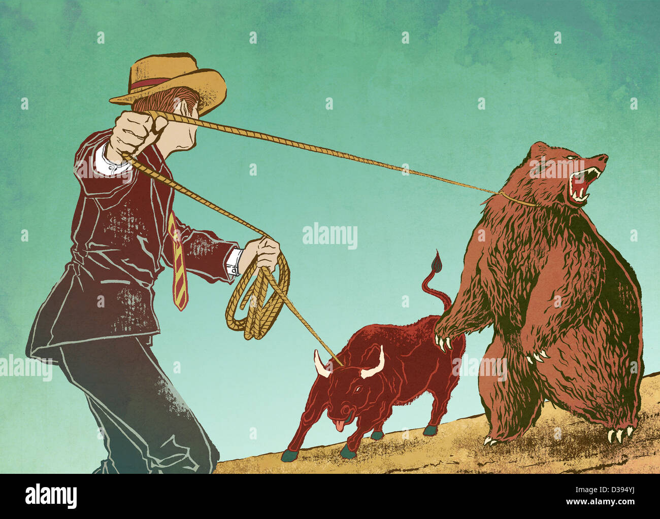 Conceptual shot of man controlling bull and bear depicting control over stock market - Stock Image