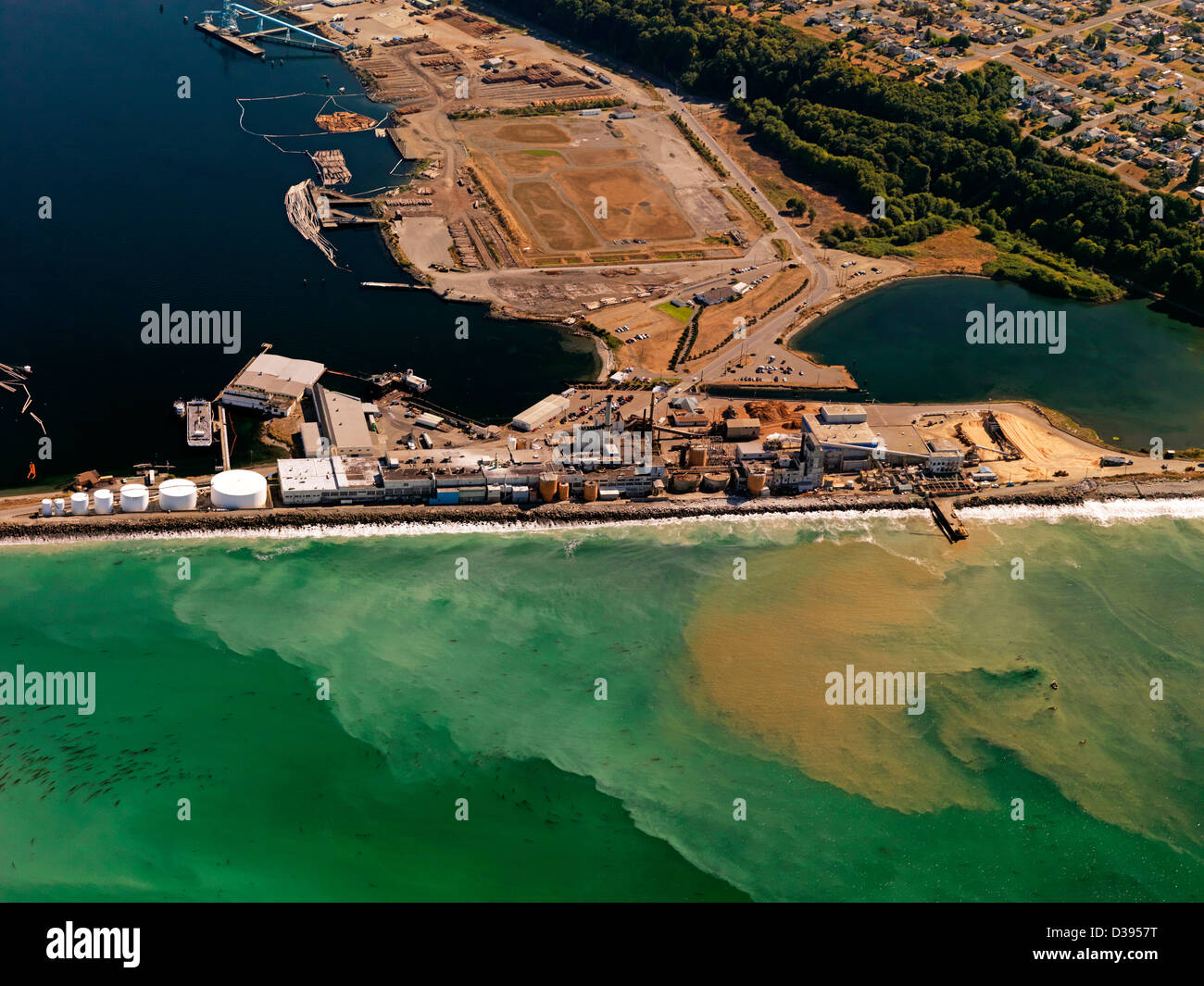an aerial photo of the Nippon Paper Industries USA Company paper mill at Port Angeles in Washington State USA - Stock Image