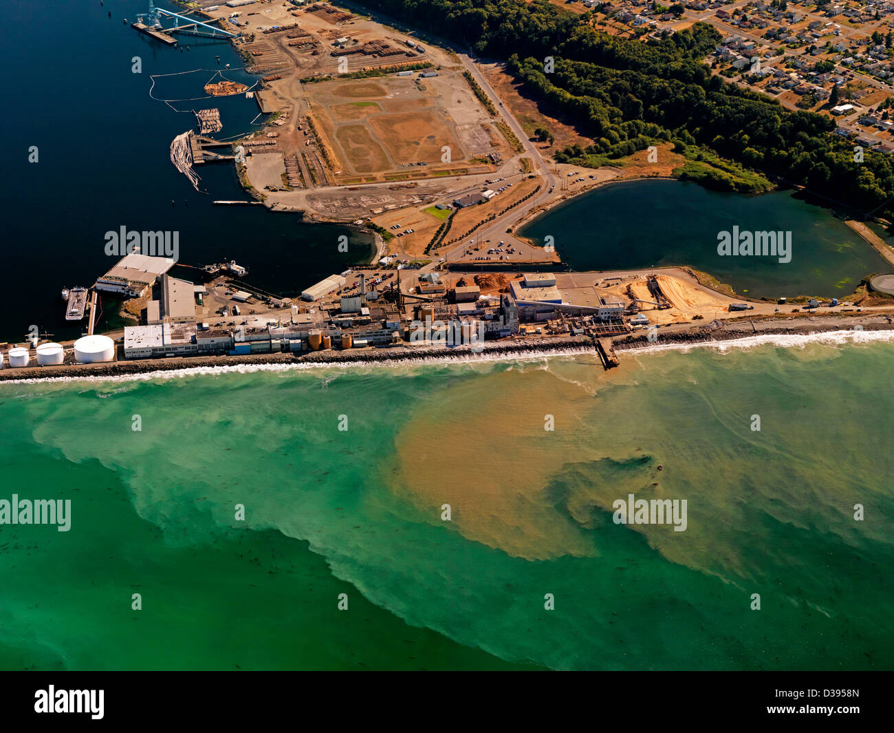 The Nippon Paper Industries USA Company paper plant at Port Angeles in Washington State an aerial photo. - Stock Image