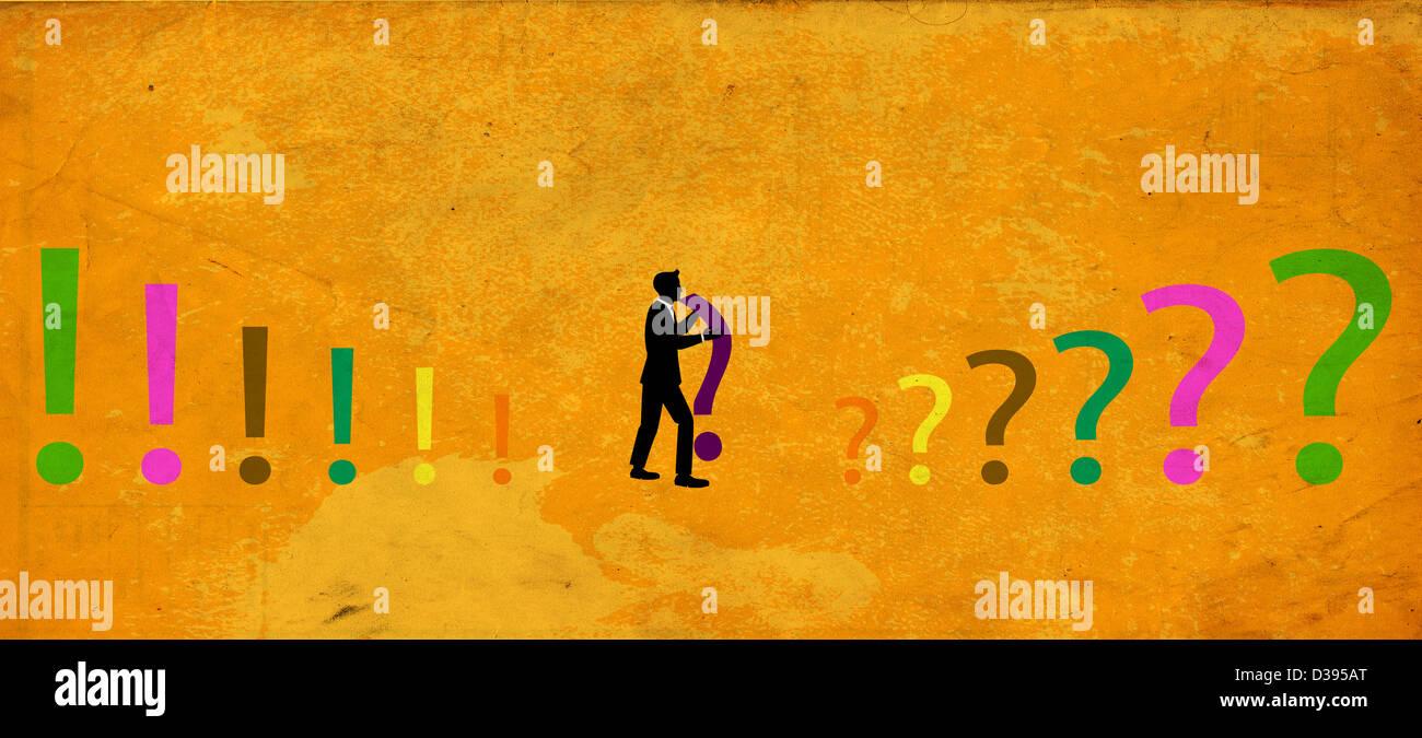 Illustration of businessman holding question mark - Stock Image