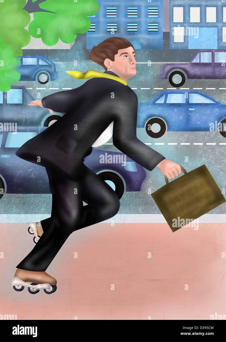 Illustration of businessman in a rush getting late for office - Stock Image