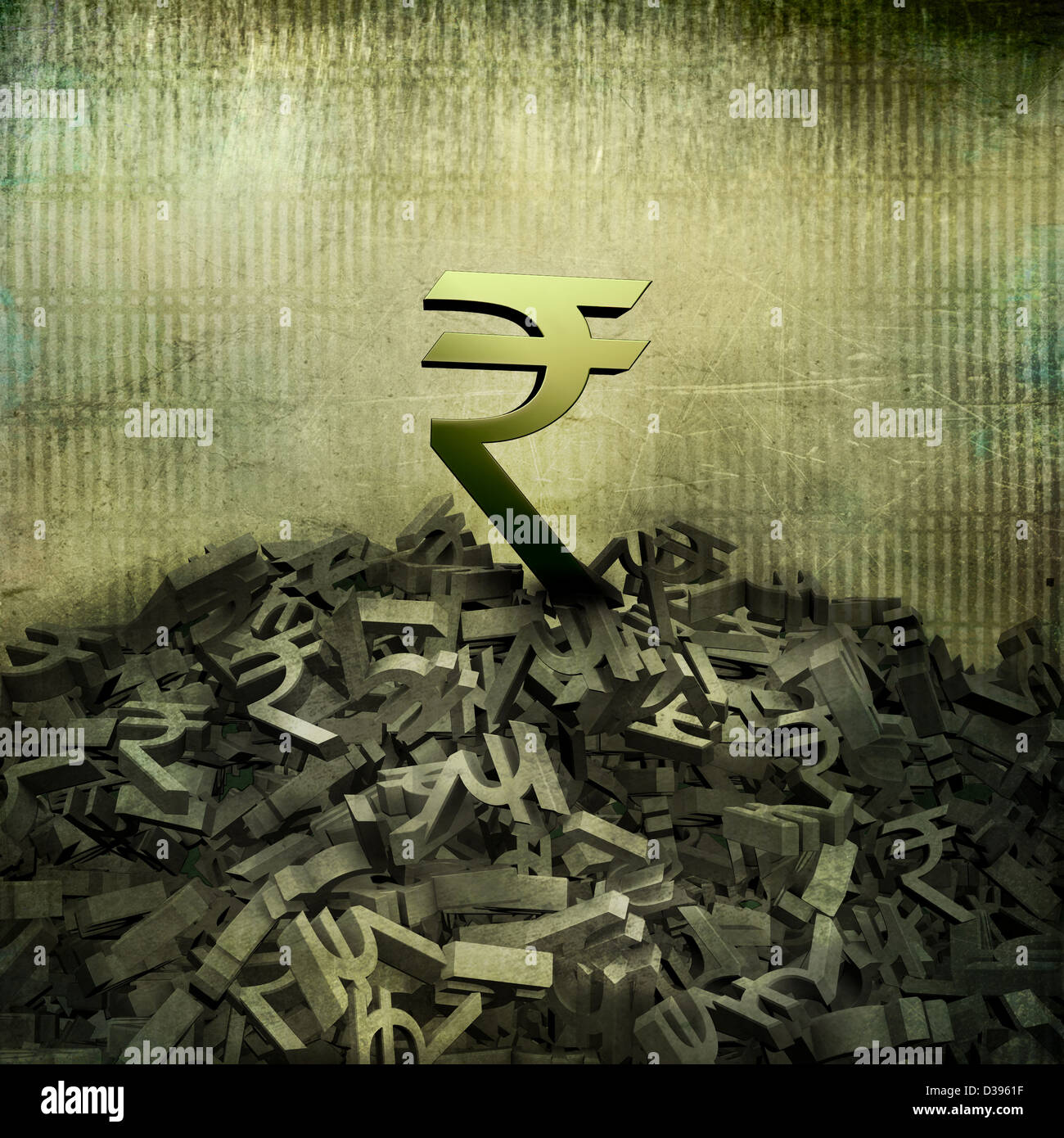 Big Rupee sign on top of small currency symbols - Stock Image