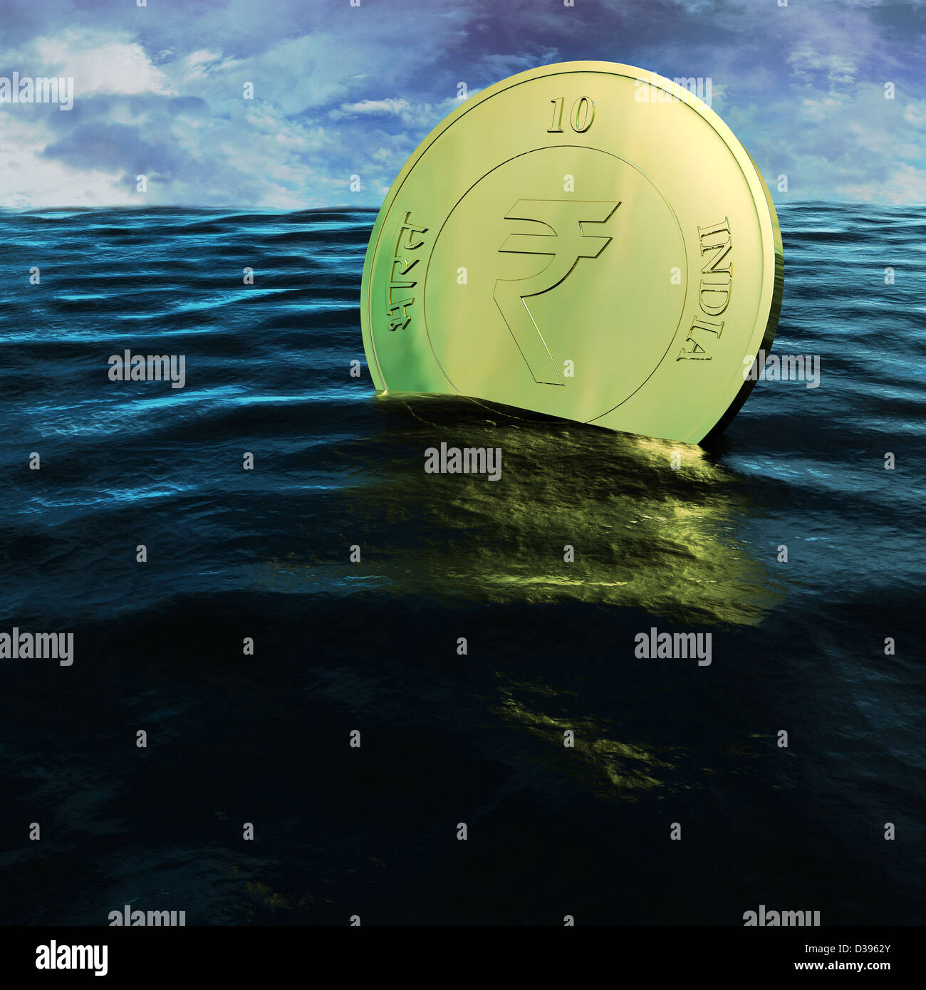 Conceptual shot of floating Indian coin depicting insolvency - Stock Image