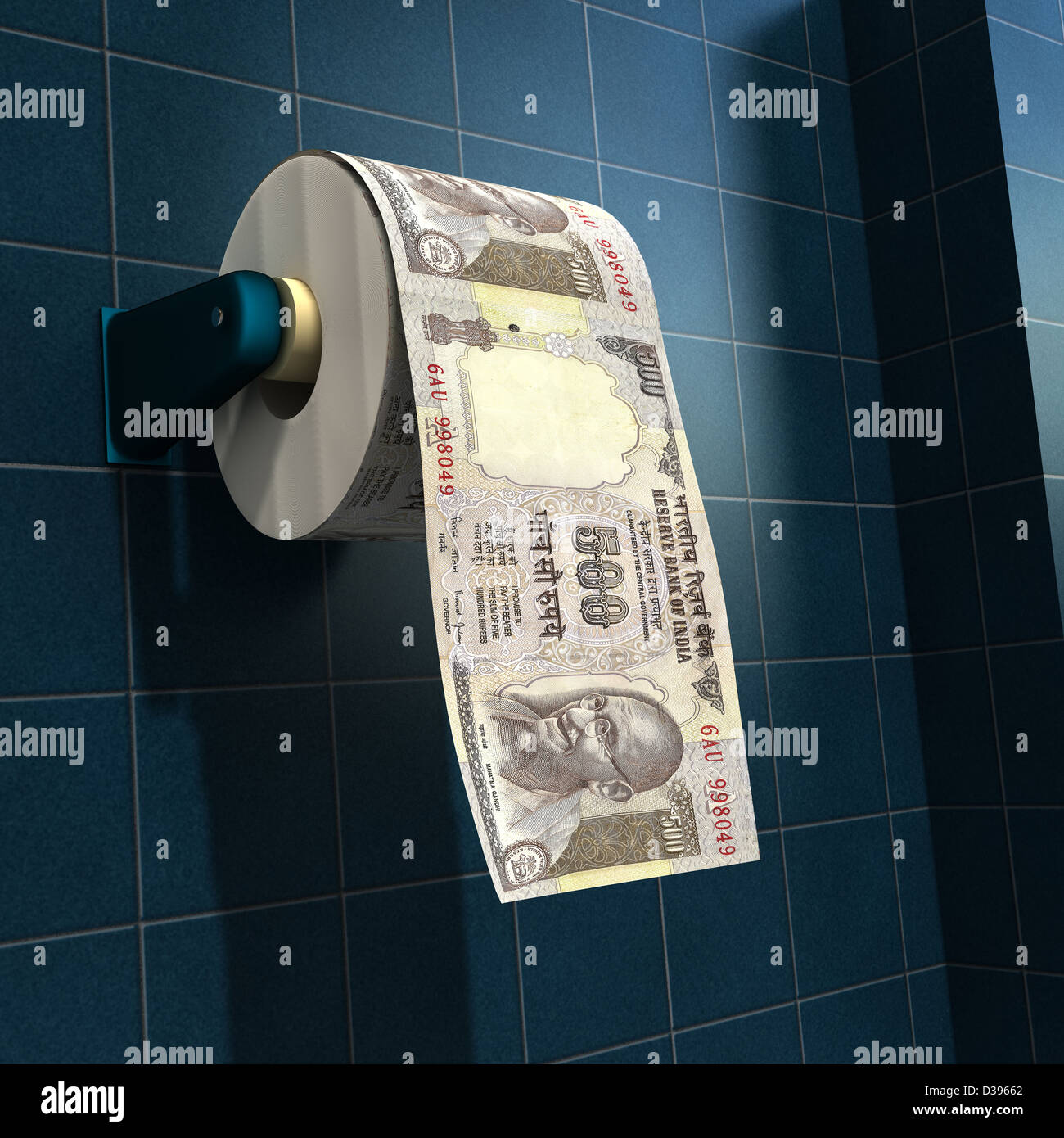 Money depicted as a roll of toilet paper on a bathroom dispenser - Stock Image