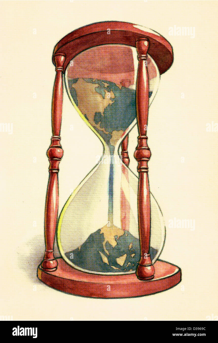 Conceptual illustration of globe in hourglass over colored background depicting environmental damage - Stock Image