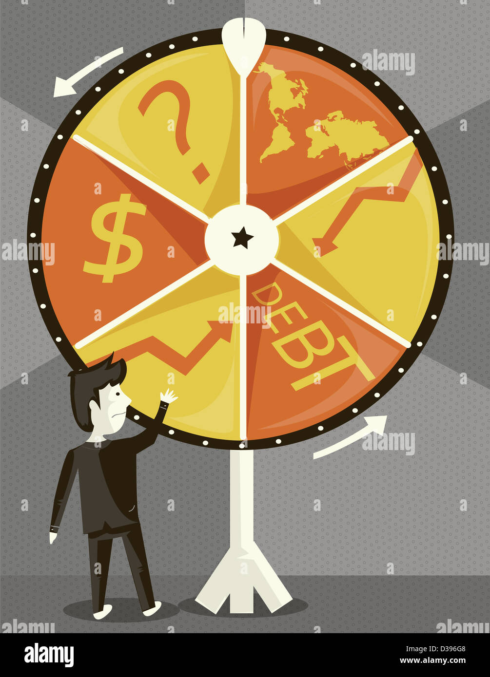 Businessman with spinning wheel of business cycle trying his luck - Stock Image