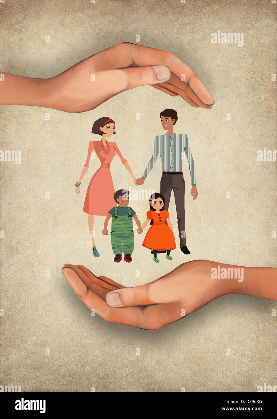 Illustrative image of human hands shielding family representing insurance - Stock Image