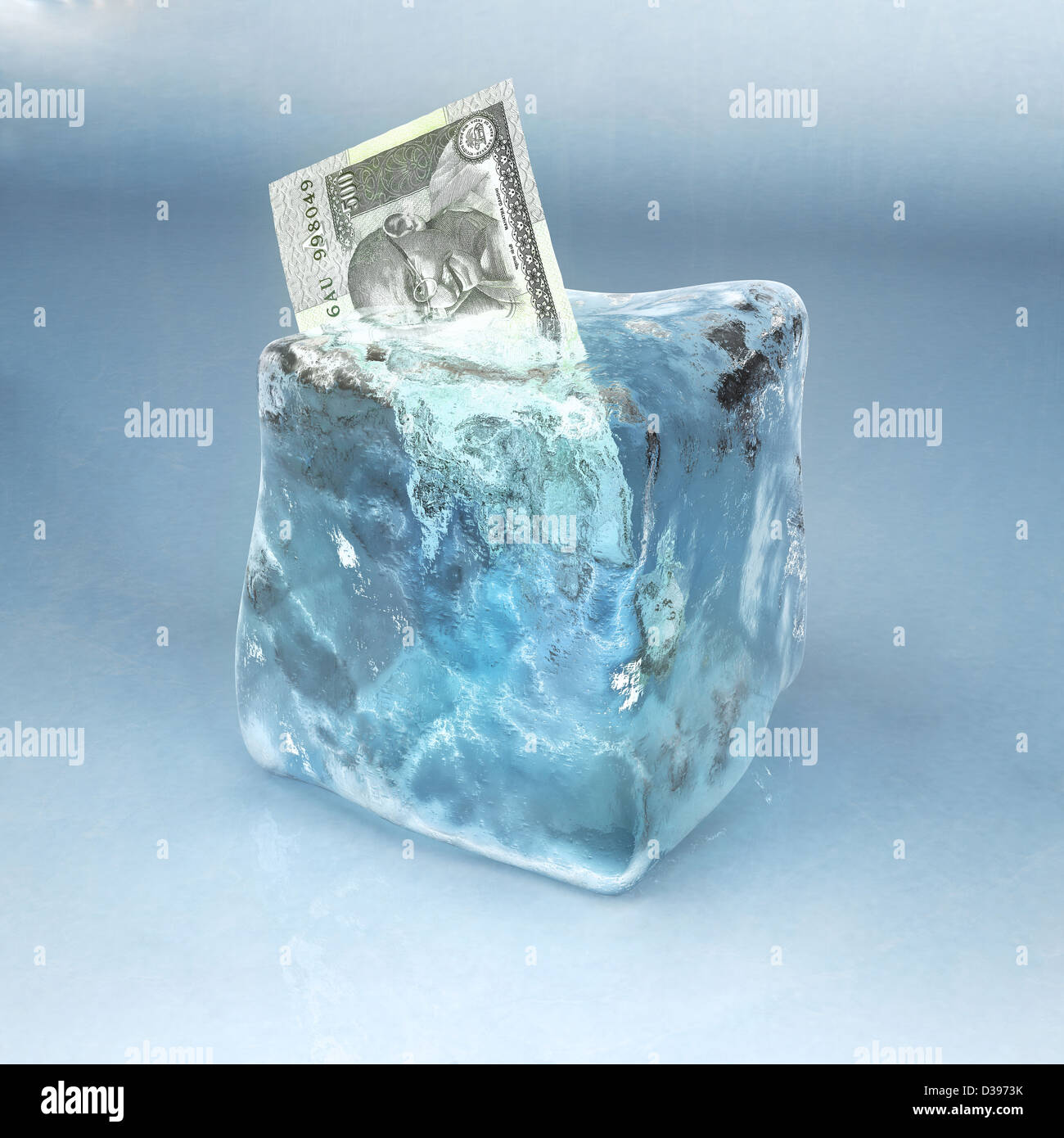 Conceptual Shot Of Indian Currency Frozen In Ice Cube Depicting Rendering Investment
