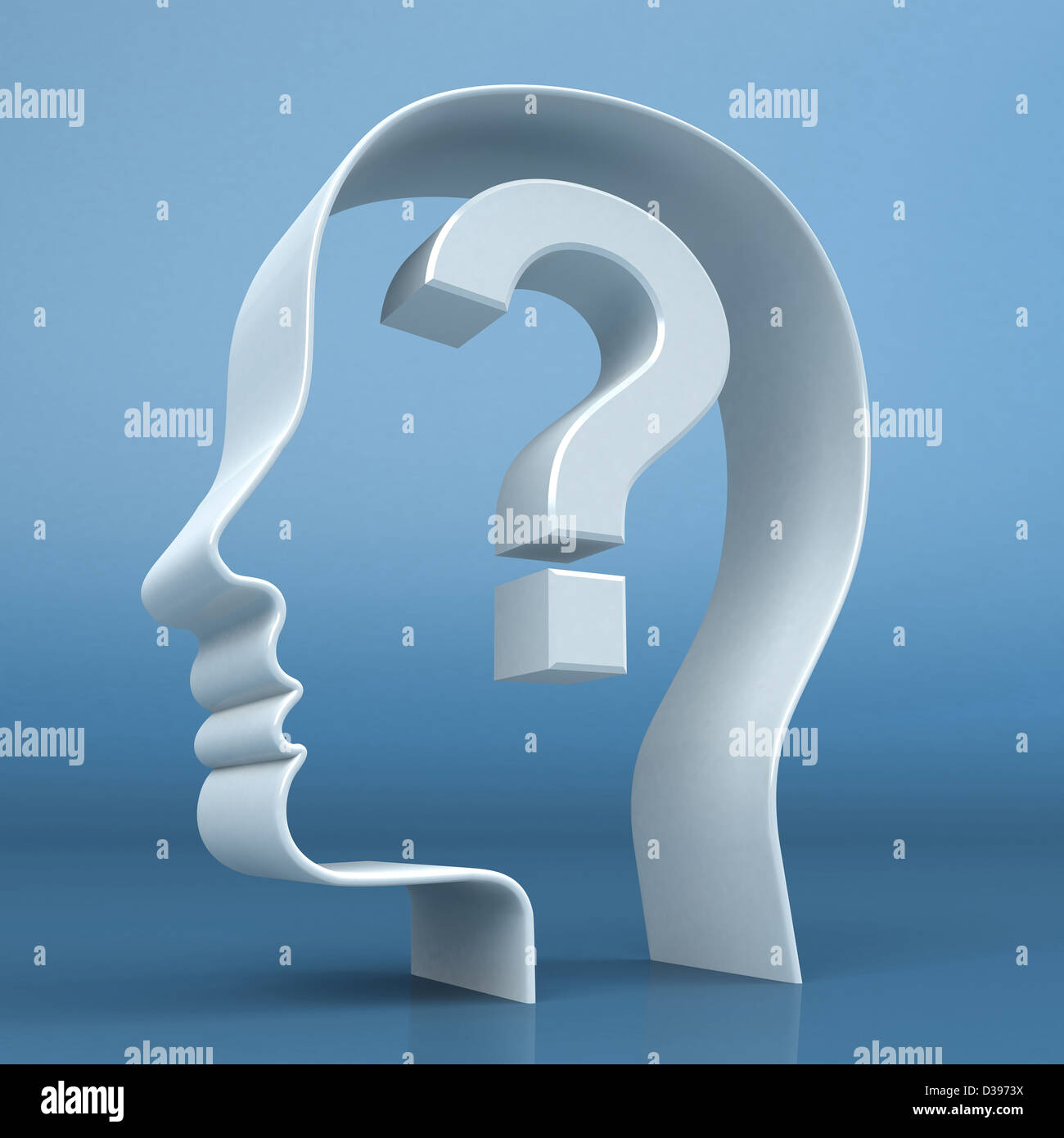 Conceptual shot of human head with question mark depicting confusion - Stock Image