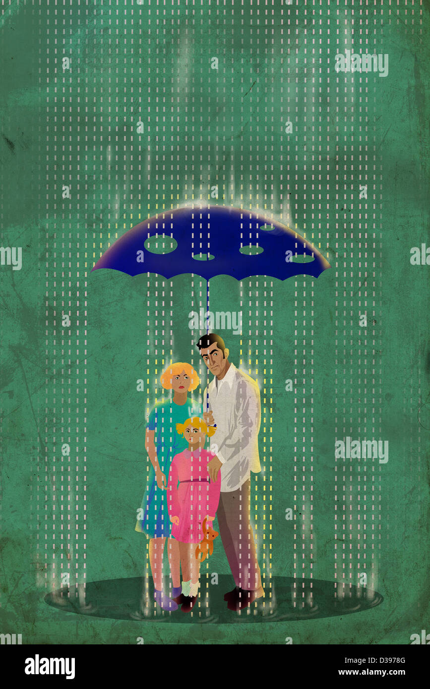 Family standing underneath an umbrella with holes on a rainy day depicting deceptive insurance - Stock Image