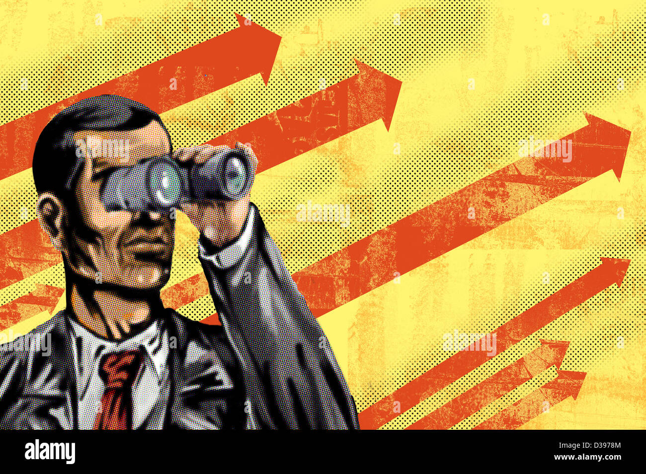 Conceptual illustration of man with binoculars and arrow sign in background depicting goal oriented businessman - Stock Image