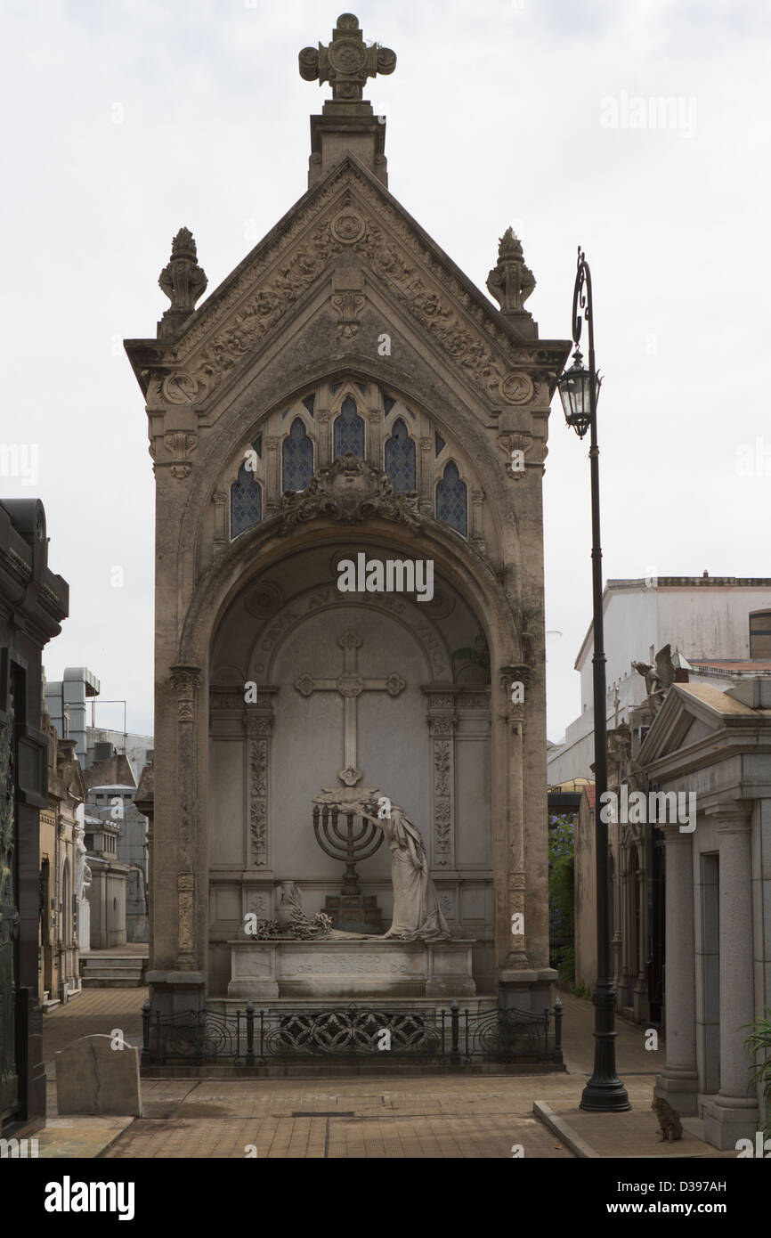 A grand crypt stands within Buenos Aires Recoleta cemetery - Stock Image