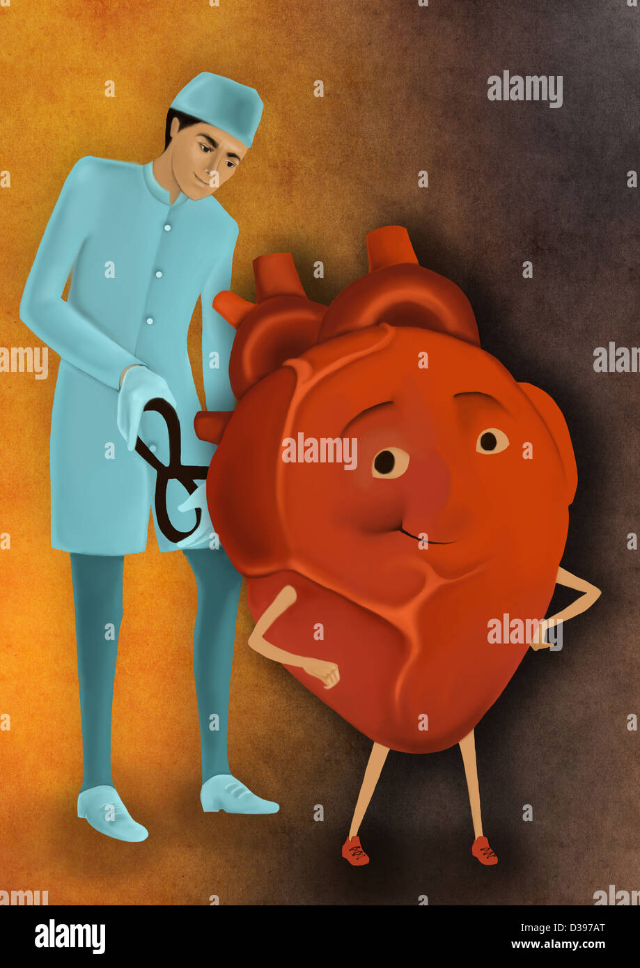 Biomedical illustration of surgeon whirling wind-up key of heart depicting heart treatment - Stock Image