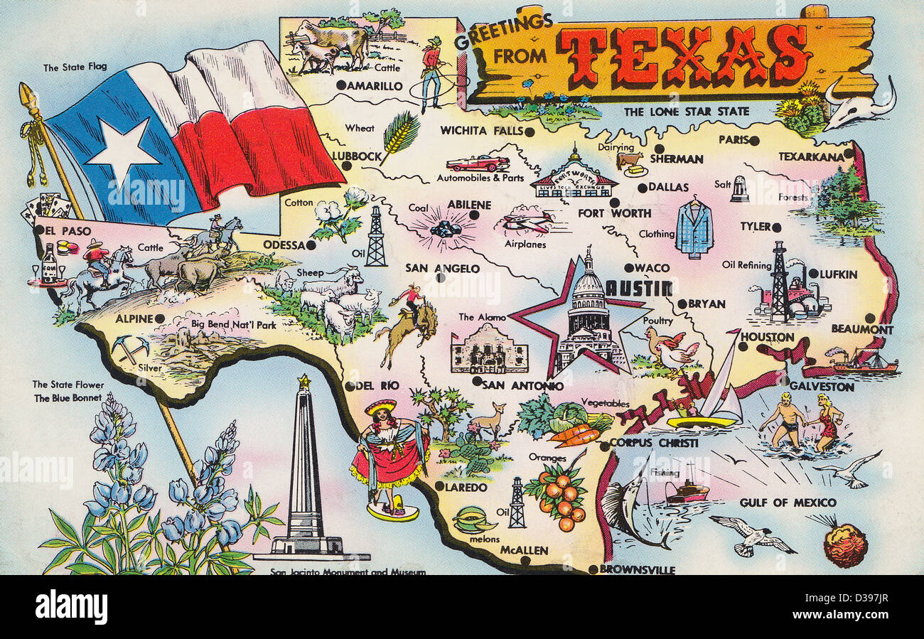 Texas Map Vintage Stock Photos Texas Map Vintage Stock Images