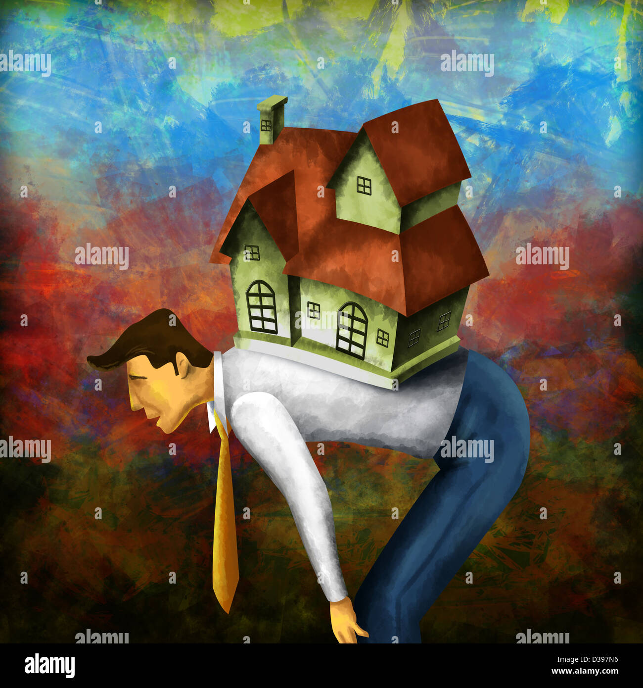 Side view of a businessman bending with model home on back depicting home loan burden - Stock Image
