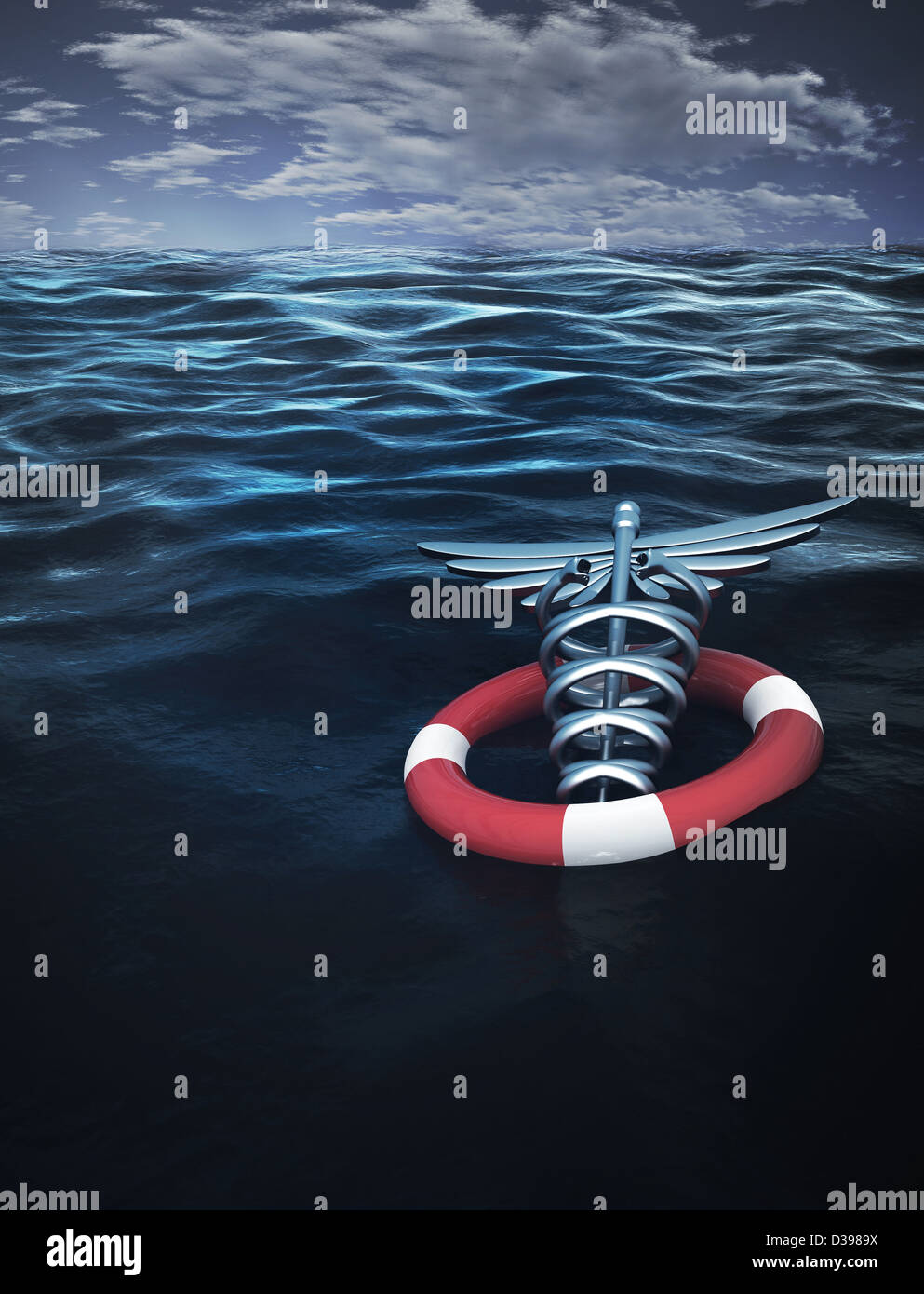 Caduceus symbol with inflatable tube floating on water representing medical insurance - Stock Image