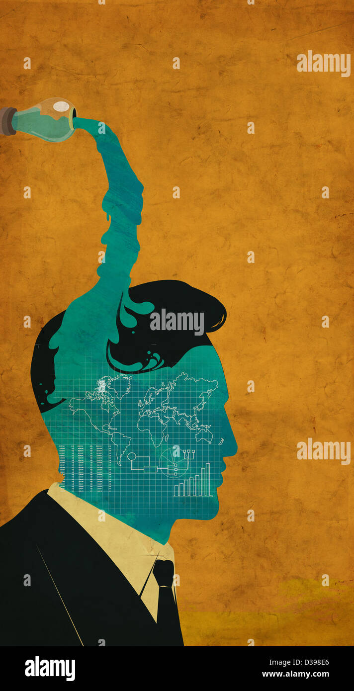 Human representation of brain filled with business ideas - Stock Image