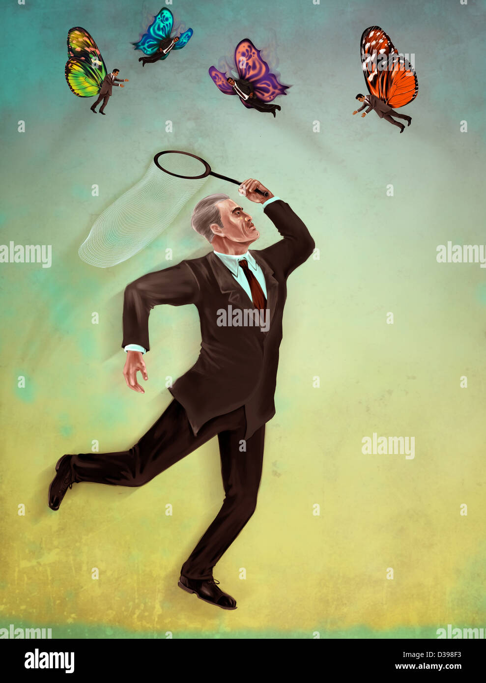 Business employer with butterfly net catching executives representing the concept of recruitment selection - Stock Image