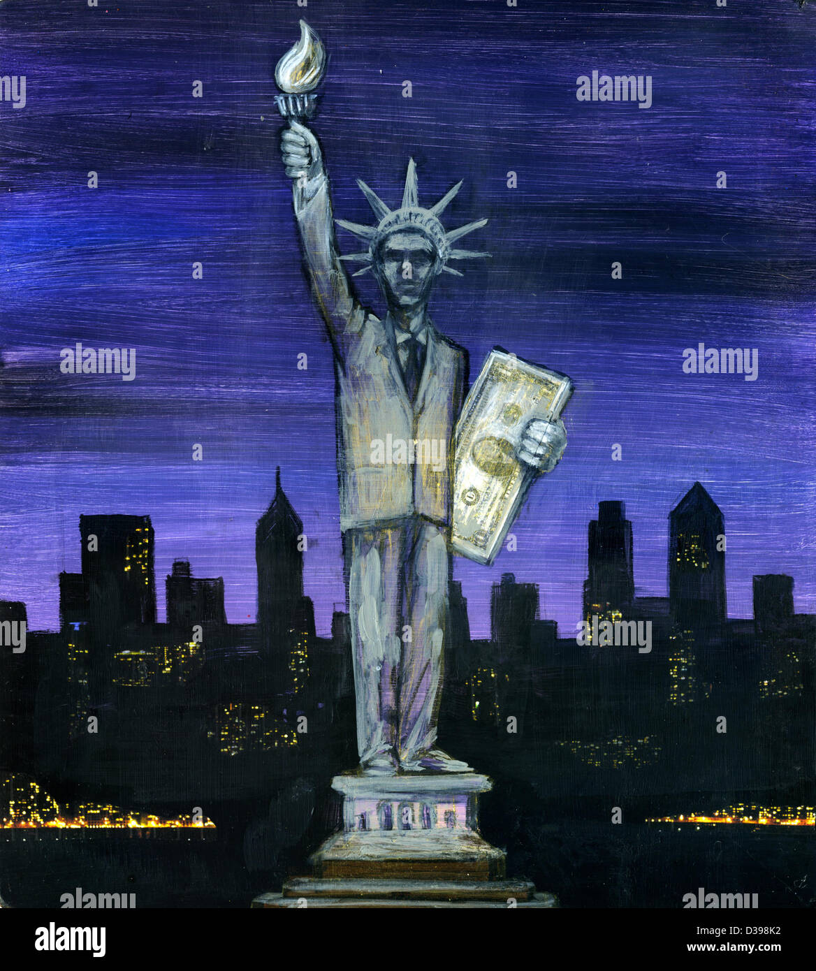 Human representation holding US paper currency with city in background depicting the concept of financial district - Stock Image