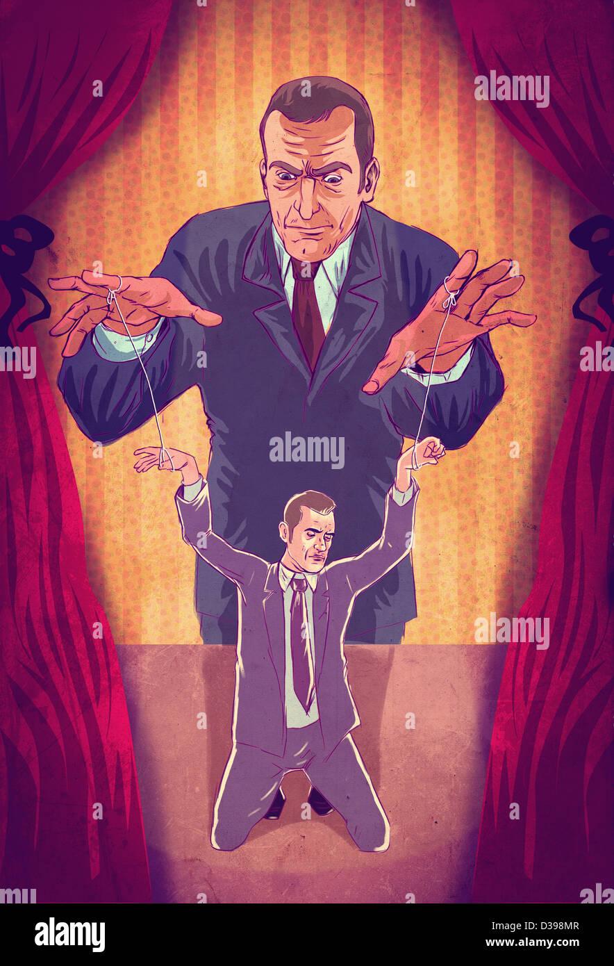 Illustrative concept of boss controlling executive as puppet - Stock Image