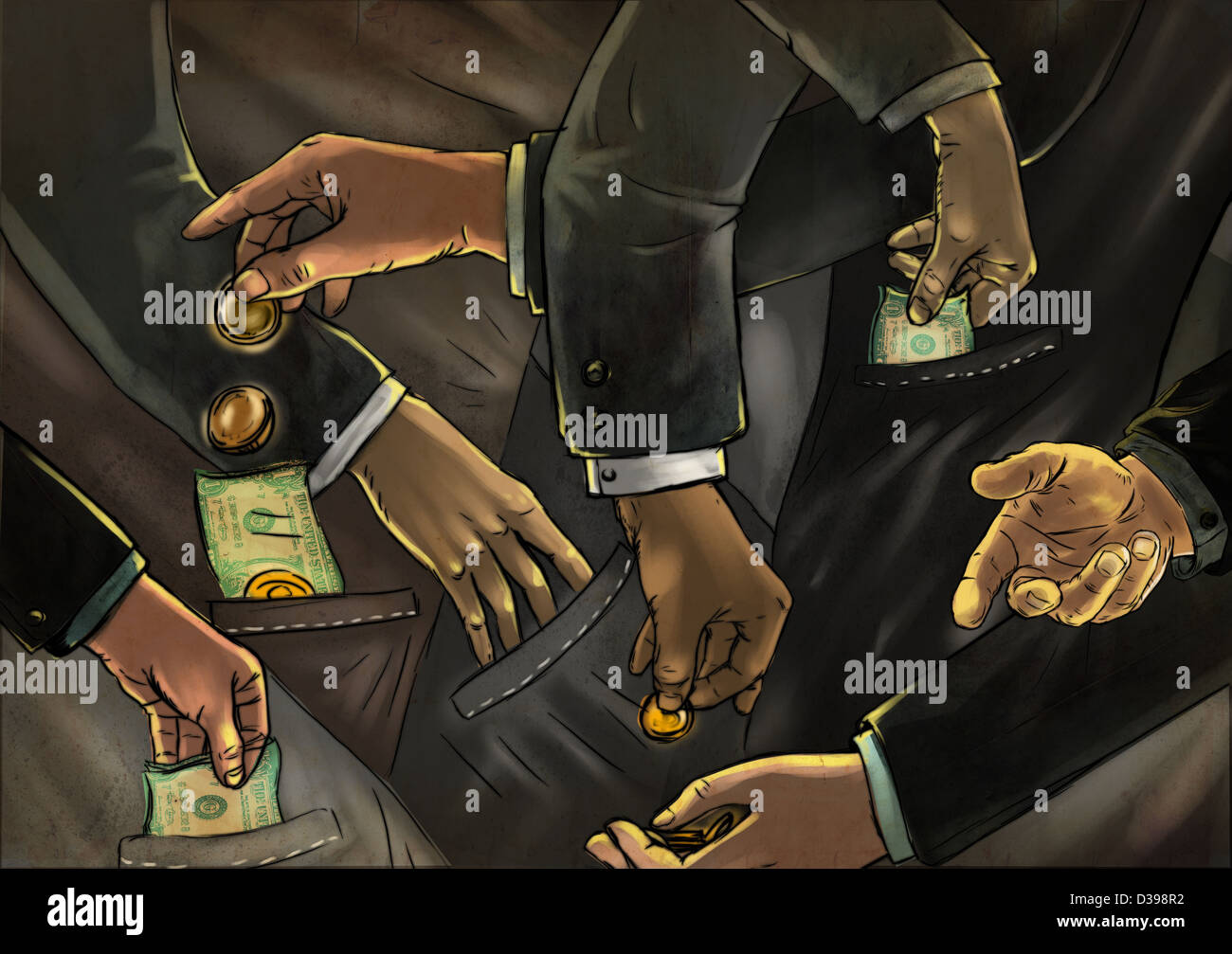 Illustrative image of business people exchanging money representing fraud - Stock Image