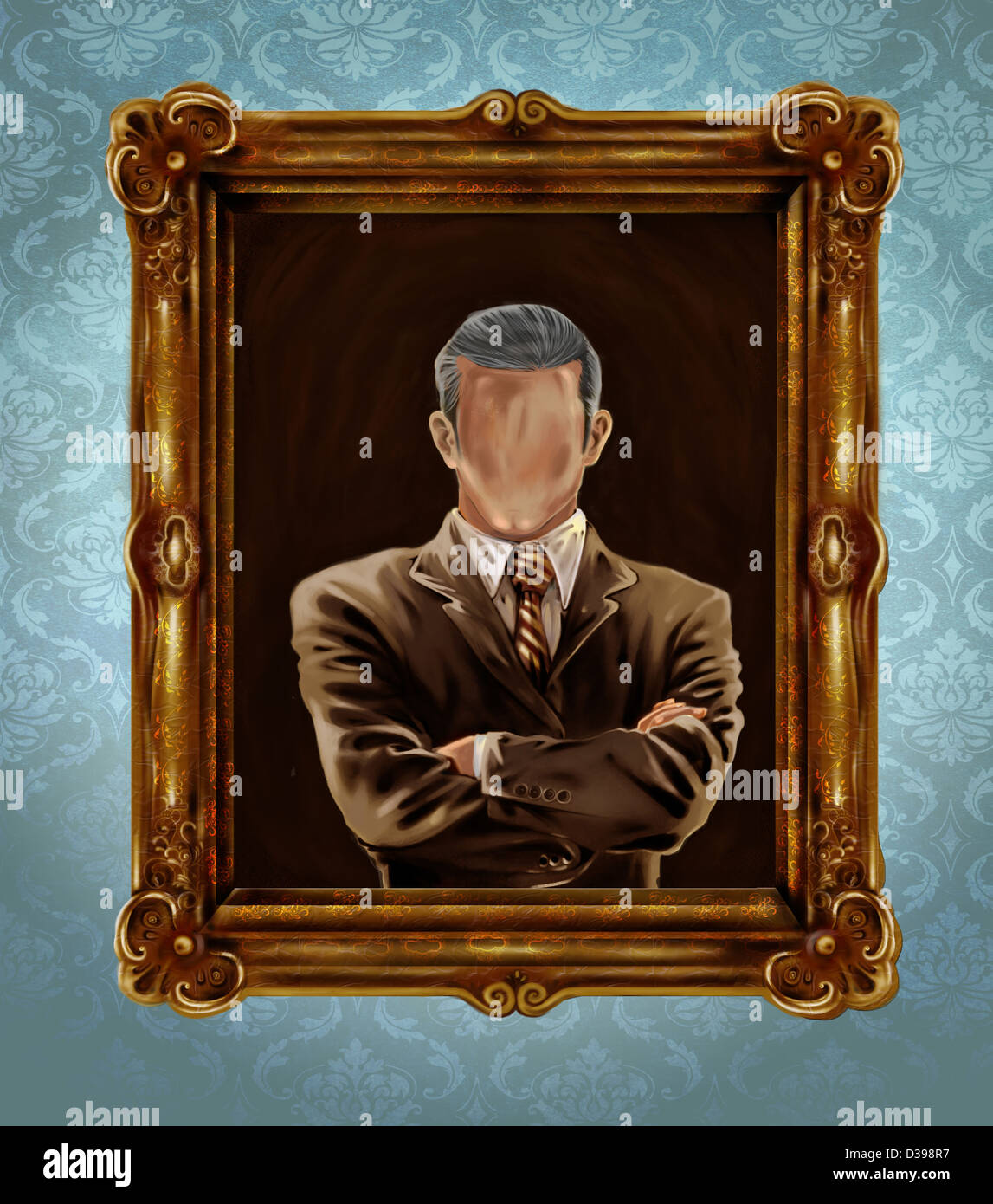 Illustrative image of picture frame with faded face representing identity crisis - Stock Image