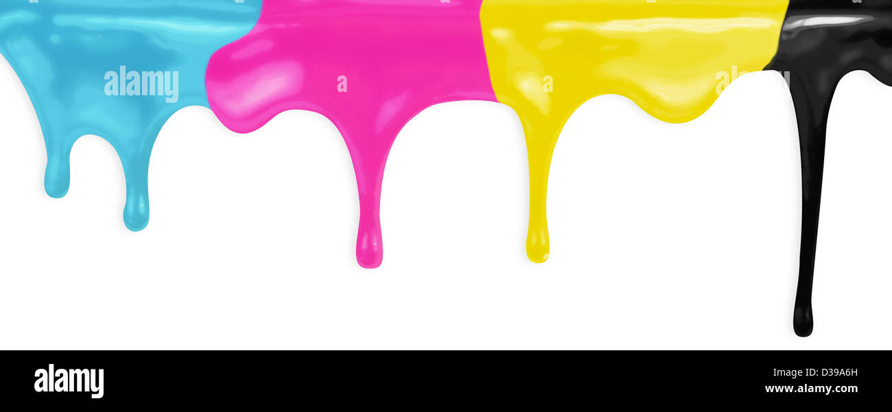 CMYK cyan magenta yellow black paints isolated with clipping path included - Stock Image